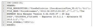 Header-Aufbau einer IFC-Datei Abschnitt in einer IFC-Datei